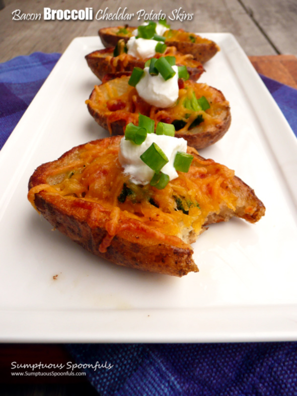Bacon Broccoli Cheddar Potato Skins Sumptuous Spoonfuls