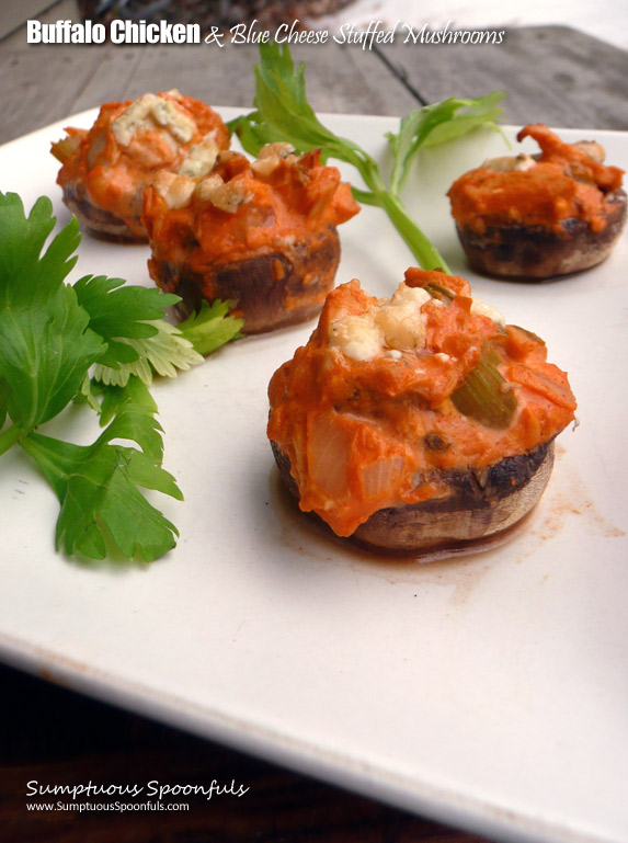 #Buffalo #Chicken & #BlueCheese Stuffed Mushrooms ~ Sumptuous Spoonfuls #easy #appetizer #recipe
