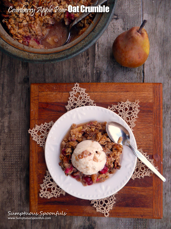 Cranberry Apple Pear Oat Crumble ~ Sumptuous Spoonfuls #fruity #baked #oatmeal #recipe