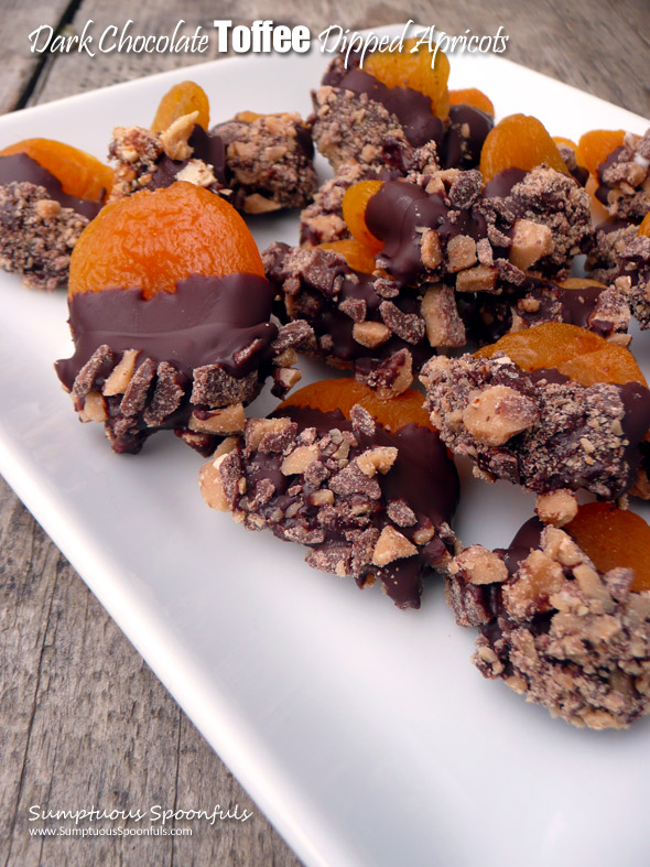 Dark Chocolate Dipped Toffee Apricots