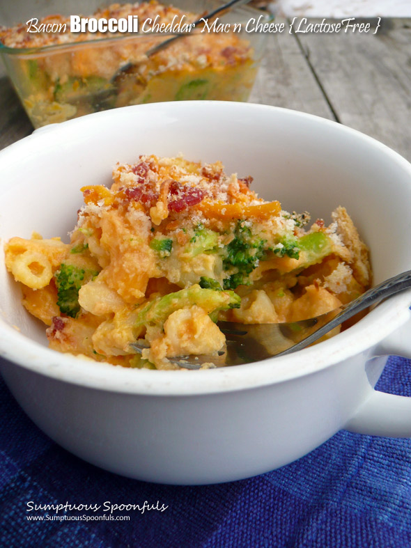 Bacon Broccoli Cheddar Mac & Cheese {Lactose Free}