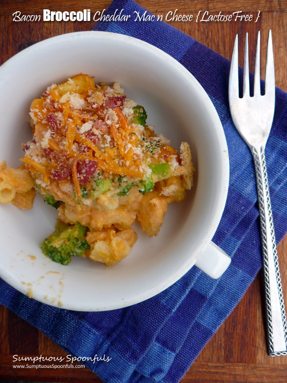 Lactose Free Bacon Broccoli Cheddar Macaroni & Cheese ~ Sumptuous Spoonfuls #lactosefree #healthy #mac&cheese #comfortfood #recipe