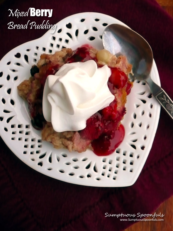 Mixed Berry Bread Pudding with Drunken Limoncello Berry Sauce