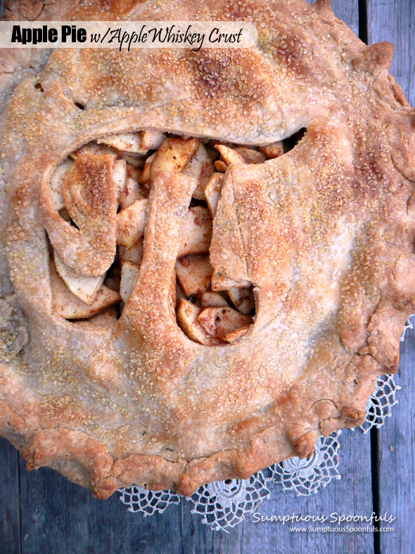Apple Pie with Apple Whiskey Crust ~ Sumptuous Spoonfuls #PiDay #apple #pie #recipe #flakycrust