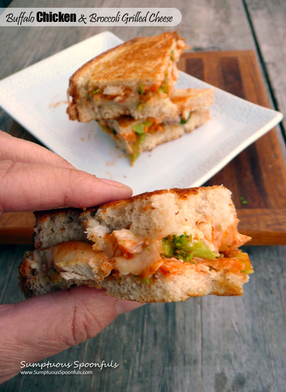 Buffalo Chicken & Broccoli Grilled Cheese Sandwich ~ Sumptuous Spoonfuls #quick #chicken #GrilledCheese #recipe