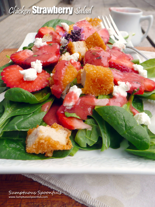 Chicken Strawberry Salad w/Goat Cheese & Roasted Strawberry Vinaigrette ~ Sumptuous Spoonfuls #chicken #strawberry #salad #recipe