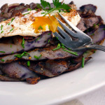 Fried Purple Potato Skins with Egg ~ Sumptuous Spoonfuls #potatoskin #breakfast #recipe