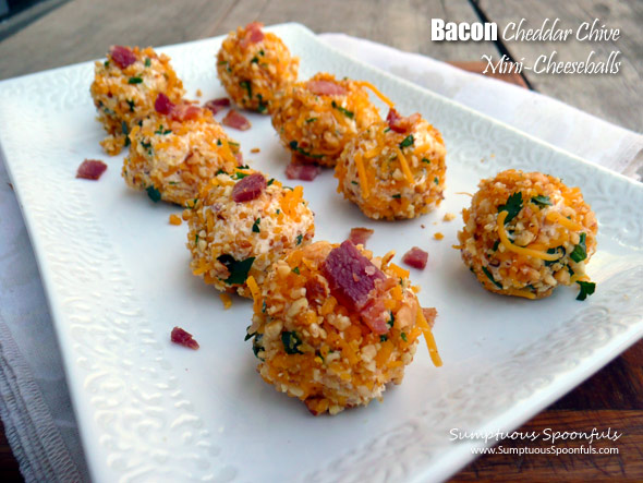 Bacon Cheddar Chive Cheeseballs ~ Sumptuous Spoonfuls #appetizer #snack #party #recipe