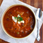 Hearty Romesco Mixed Bean Soup ~ Sumptuous Spoonfuls #cureforthespringblues #soup #recipe