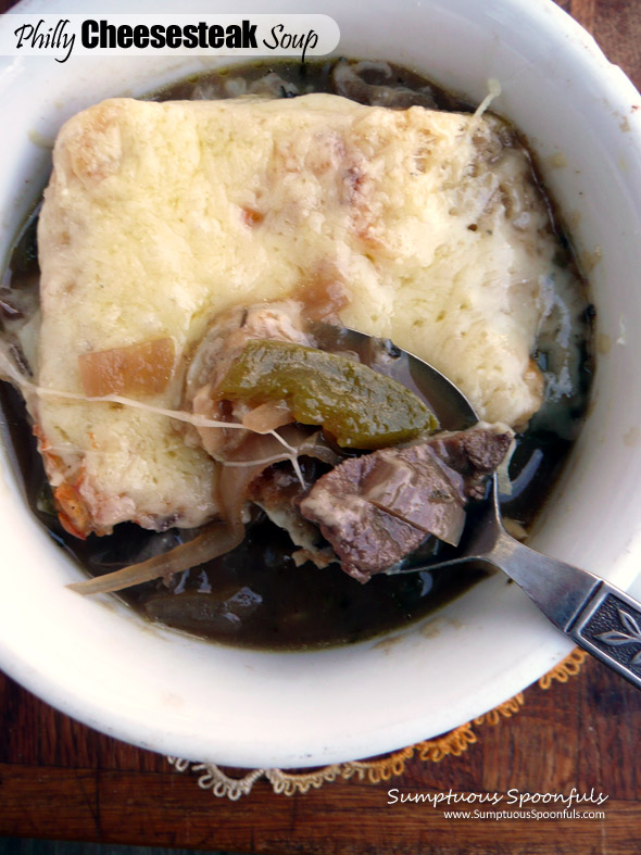 Philly Cheesesteak Soup ~ Sumptuous Spoonfuls #cheesy #beef #pepper & #onion #soup #recipe