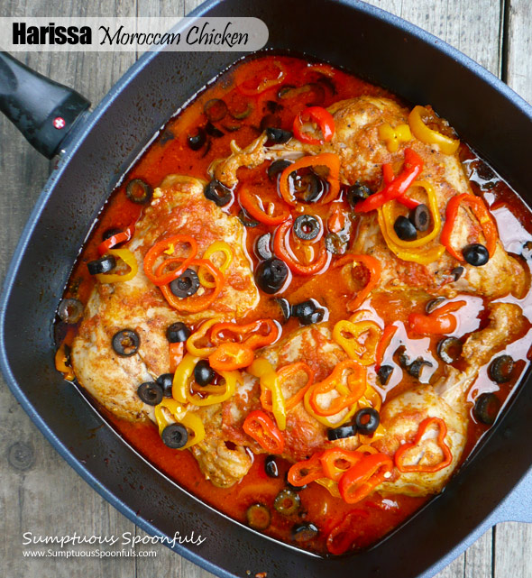 Harissa Moroccan Chicken w/Roasted Peppers & Olives ~ Sumptuous Spoonfuls #Mediterranean #chicken #dinner #recipe