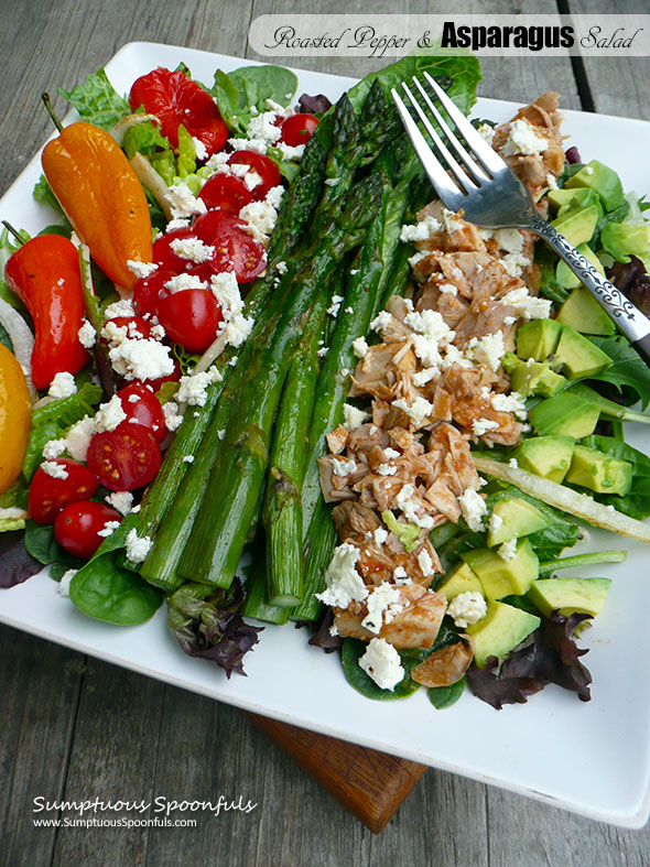 Roasted Pepper & Asparagus Salad with Chicken, Feta & Avocado