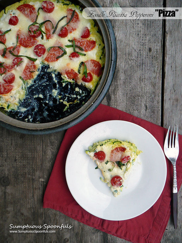 """Zucchini Noodle Pepperoni """"Pizza"""" ~ Sumptuous Spoonfuls #healthy #cheesy #veggie #zoodle #recipe"""