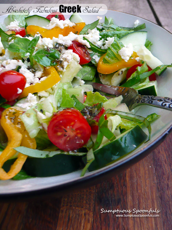 Absolutely Fabulous Greek Salad ~ Sumptuous Spoonfuls #easy #delightful #Greek #salad #recipe