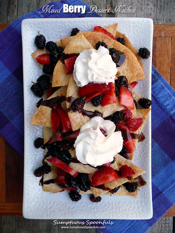 Mixed Berry Dessert Nachos ~ Sumptuous Spoonfuls #redwhite&blue #easy #dessert #recipe