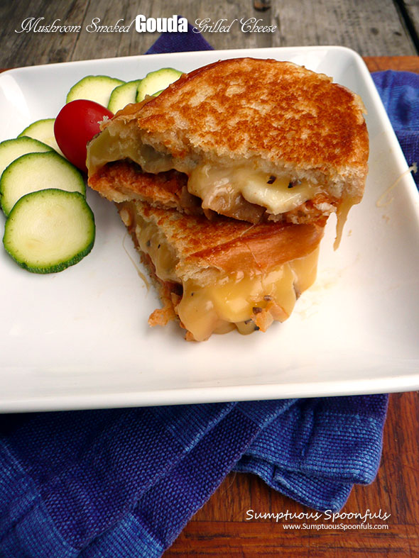 Mushroom Smoked Gouda Grilled Cheese Sandwich ~ Sumptuous Spoonfuls #easy #delicious #lunch #recipe