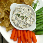 Skinny Greek Yogurt Spinach Artichoke Dip ~ Sumptuous Spoonfuls #healthy #hummus #GreekYogurt #SpinDip