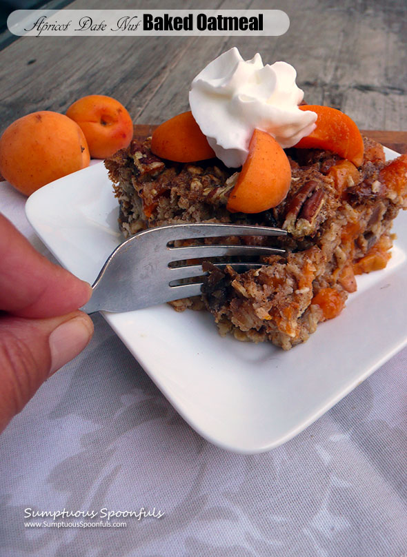 Apricot Date Nut Baked Oatmeal ~ Sumptuous Spoonfuls #healthy #apricot #breakfast #recipe