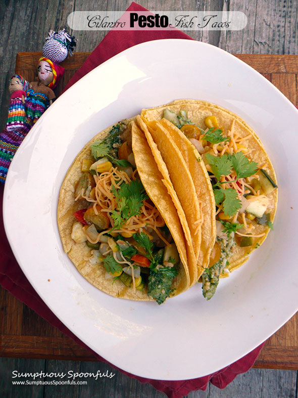 Cilantro Pesto Fish Tacos with Roasted Zucchini Corn Salsa ~ Sumptuous Spoonfuls #fish #taco #quickeasydinner #recipe
