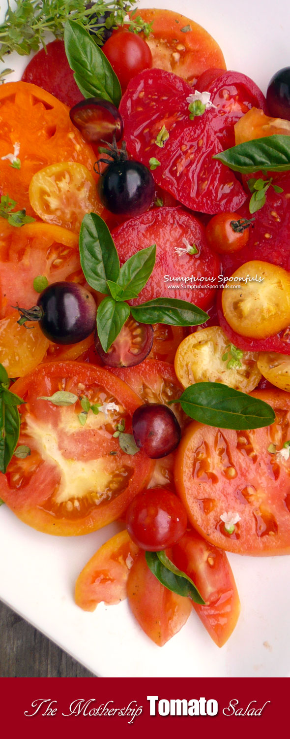 The Mothership Tomato Salad ~ Sumptuous Spoonfuls #Tomato #Salad #Recipe from #jamieoliver