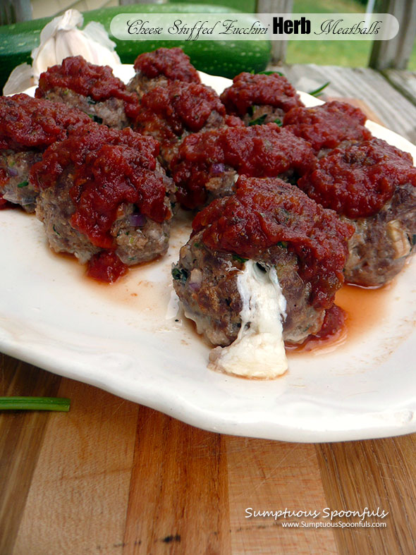 Cheese Stuffed Zucchini Herb Meatballs ~ Sumptuous Spoonfuls #meatball #recipe
