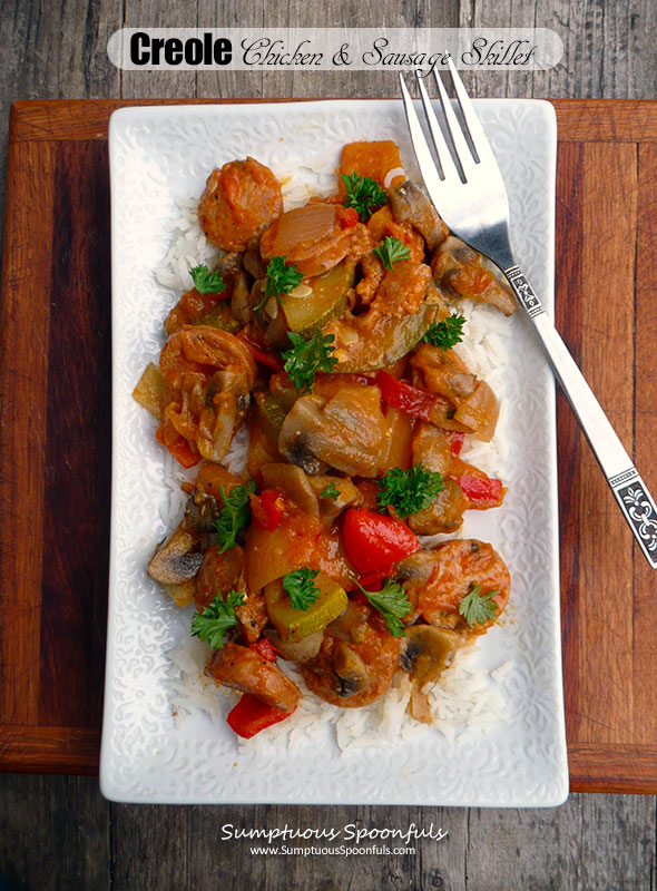 Creole Chicken & Sausage Skillet with Peppers & Mushrooms