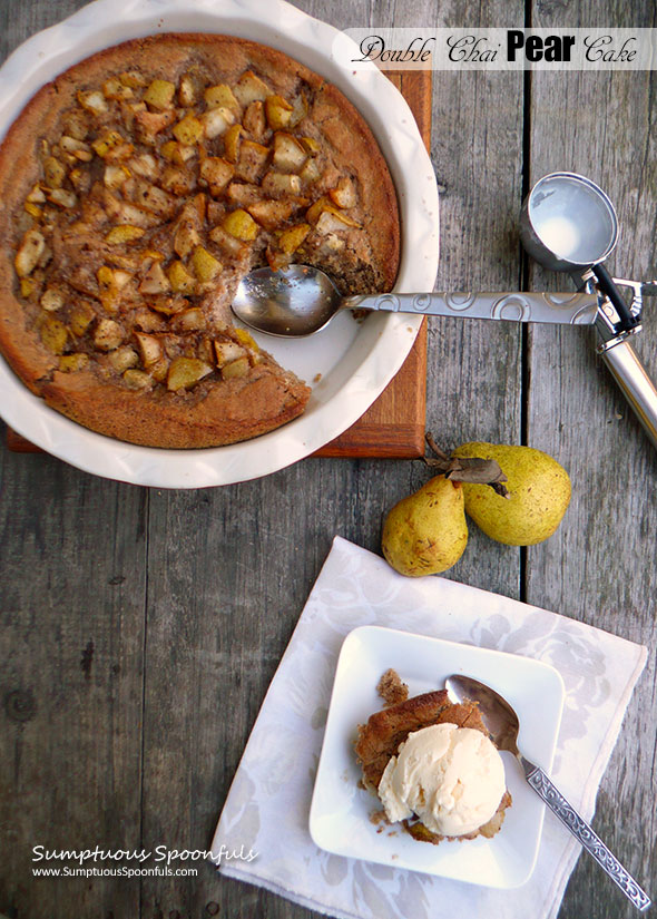 Double Chai Pear Cake ~ Sumptuous Spoonfuls #pear #dessert #cake #recipe