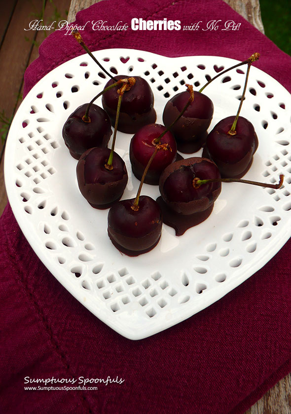 Hand-dipped Chocolate Covered Cherries - Pit-less! ~ Sumptuous Spoonfuls #easy #dessert #recipe #diy #cherrypitter