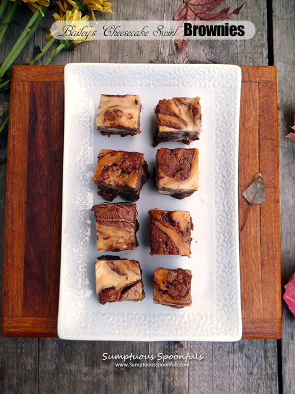 Bailey's Cheesecake Swirl Brownies ~ Sumptuous Spoonfuls #Choctoberfest #brownie #recipe with Imperial Sugar