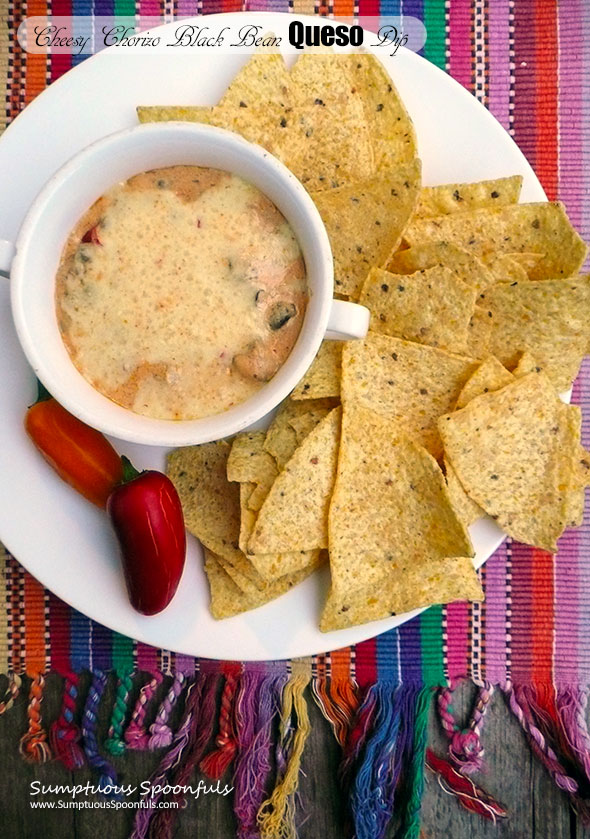 Cheesy Chorizo Black Bean Queso Dip ~ Sumptuous Spoonfuls #Mexican #Queso #meaty #cheese #dip #recipe