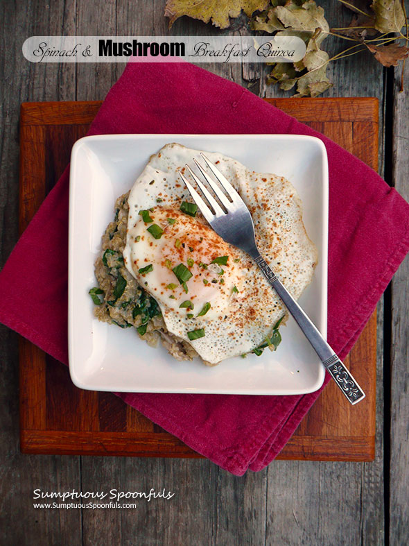 Spinach & Mushroom Breakfast Quinoa ~ Sumptuous Spoonfuls #cheesy #breakfast #quinoa #recipe