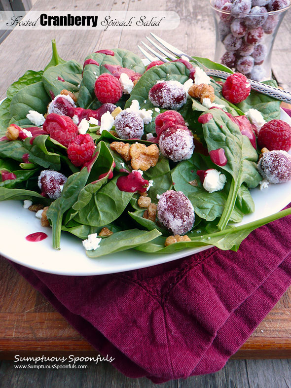 Frosted Cranberry Spinach Salad with Raspberries, Candied Walnuts & Goat Cheese