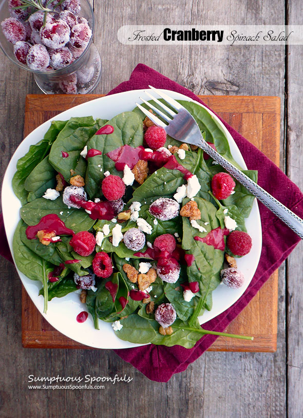 Frosted Cranberry Spinach Salad with candied walnuts, goat cheese & cranberry raspberry vinaigrette ~ Sumptuous Spoonfuls #cranberry #raspberry #holiday #salad #recipe
