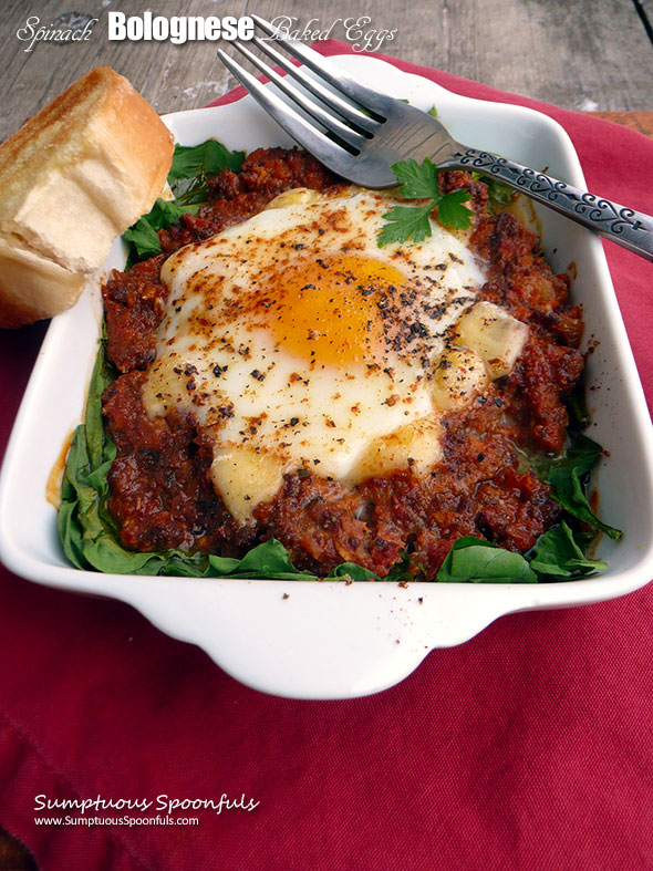 Spinach Bolognese Baked Eggs