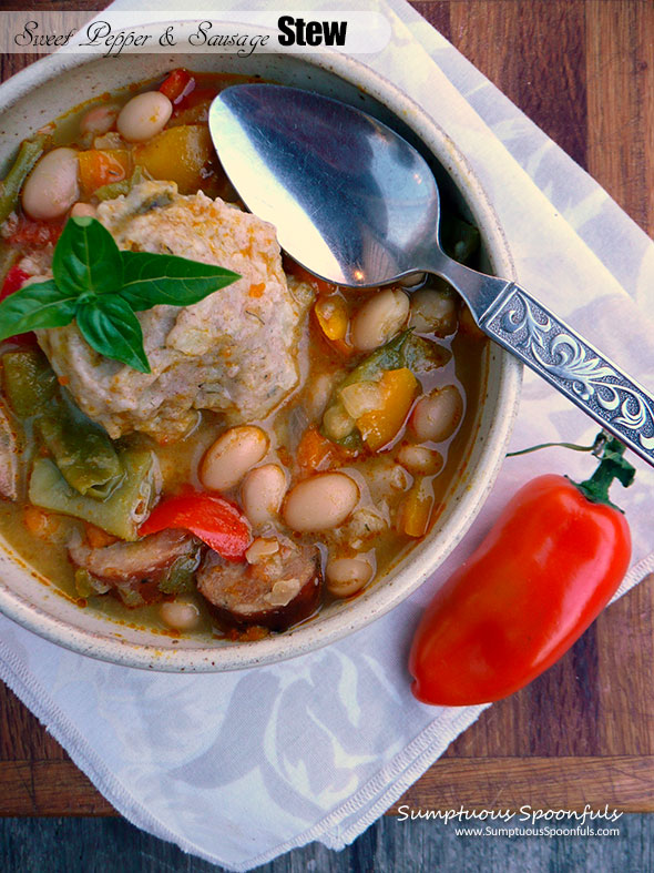 Sweet Pepper & Sausage Stew with Dilled Potato Dumplings