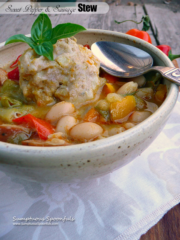 Sweet Pepper & Sausage Stew with Dilled Potato Dumplings ~ Sumptuous Spoonfuls #hearty #soup #recipe