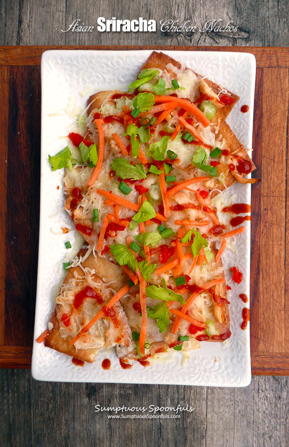 Asian Sriracha Chicken Nachos ~ Sumptuous Spoonfuls #sriracha #chicken #nachos #recipe