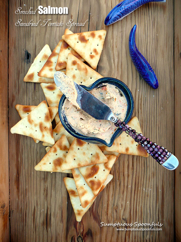 Smoked Salmon Sundried Tomato Spread ~ Sumptuous Spoonfuls #seafood #cheese #appetizer #recipe