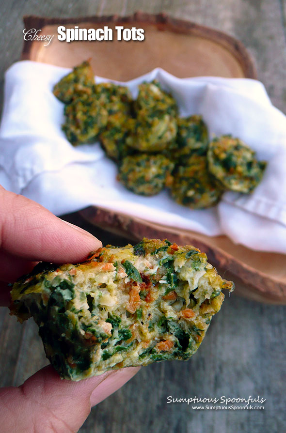 Cheesy Spinach Tots ~ the BEST way to eat your veggies! Sumptuous Spoonfuls #easy #veggie #tots #recipe