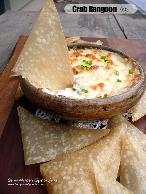 Crab Rangoon Dip with Baked Wonton Chips ~ Sumptuous Spoonfuls #easy #hot #cheesy #crab #dip #recipe