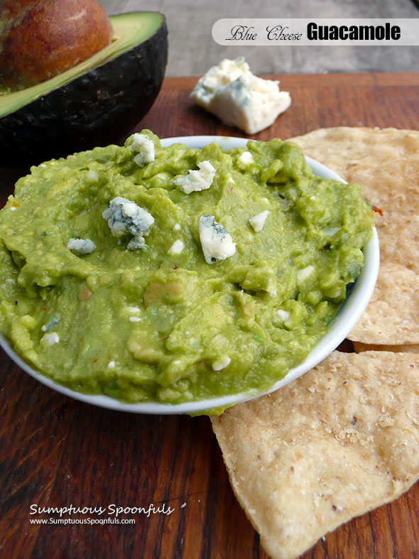 Blue Cheese Guacamole ~ Sumptuous Spoonfuls #easy #Mexican #avocado #dip #recipe #guacamole