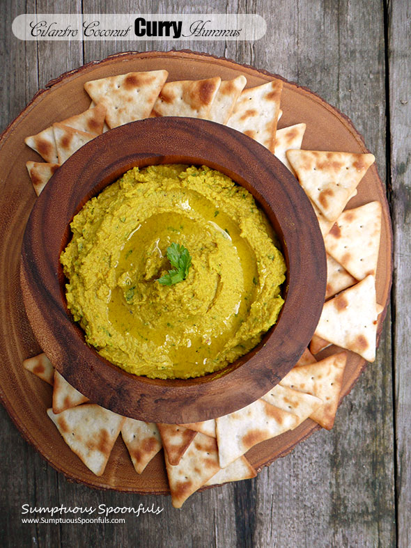 Cilantro Coconut Curry Hummus ~ Sumptuous Spoonfuls #curried #hummus #dip #recipe