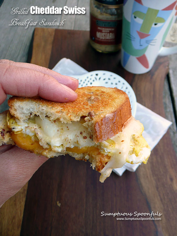Grilled Cheddar Swiss Breakfast Sandwich