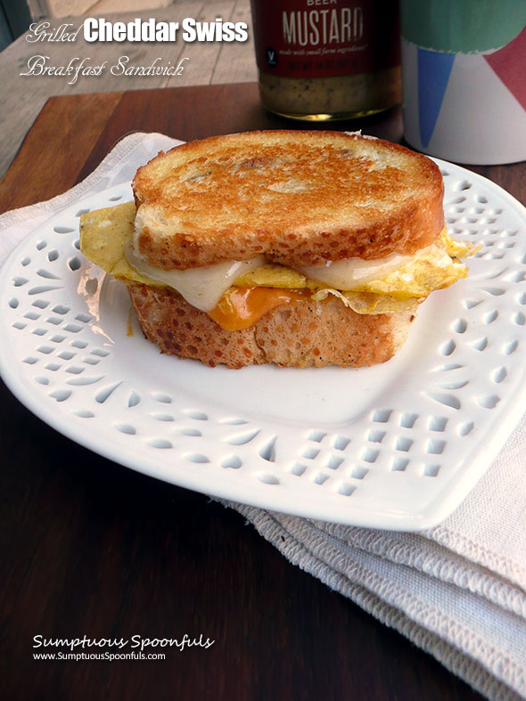 Grilled Cheddar Swiss Breakfast Sandwich ~ Sumptuous Spoonfuls - a bit of mustard makes this tastebud nirvana