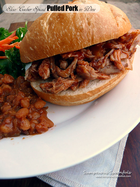 Slow Cooker Spiced Pulled Pork in Wine ~ Sumptuous Spoonfuls #pulledpork #crockpot #recipe