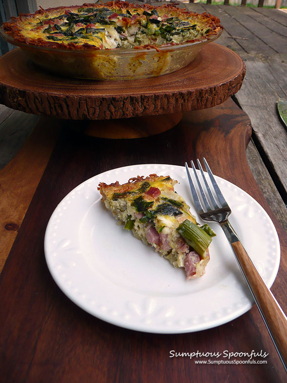 Ham & Asparagus Quiche with Hashbrown Crust ~ Sumptuous Spoonfuls #brunch #quiche #recipe