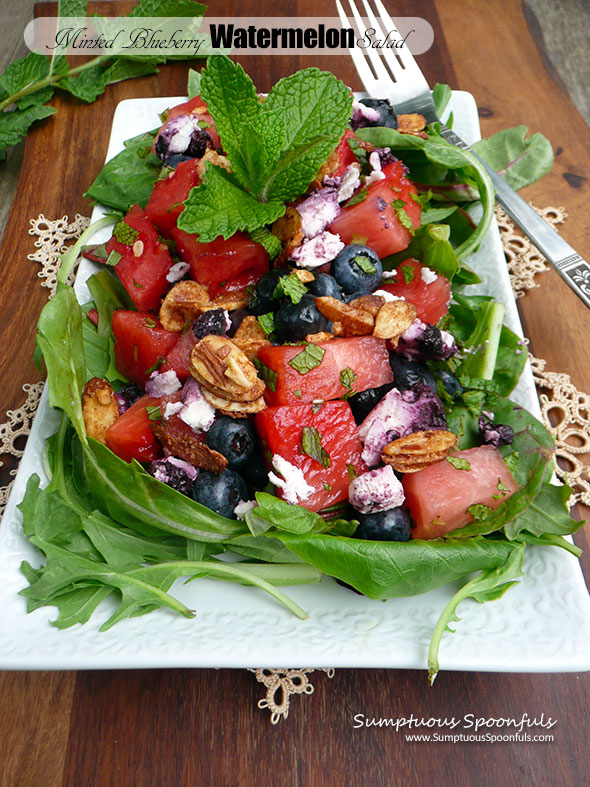 Minted Blueberry Watermelon Salad w Goat Cheese, Candied Almonds & Lavender Honey Vinaigrette ~ Sumptuous Spoonfuls #redwhite&blue #patriotic #summer #salad #recipe