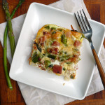 Swiss Ham & Asparagus Breakfast Bake ~ Sumptuous Spoonfuls #easy #eggbake #recipe