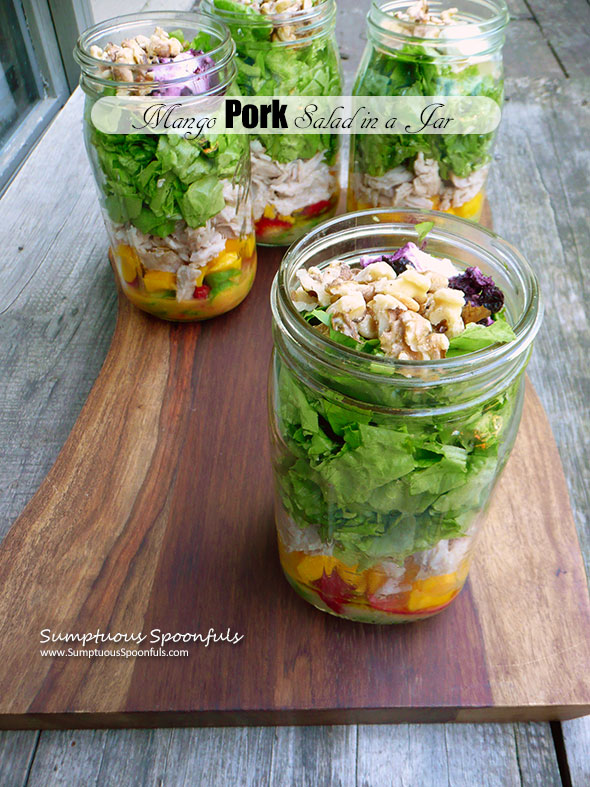 Mango Pork Salad in a Jar with blueberry goat cheese, toasted walnuts, cucumbers & a fiery grilled pineapple vinaigrette ~ Sumptuous Spoonfuls #portable #dinner #salad #recipe