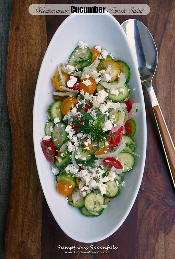 Mediterranean Cucumber Tomato Salad ~ Sumptuous Spoonfuls #light #easy #summer #salad #recipe